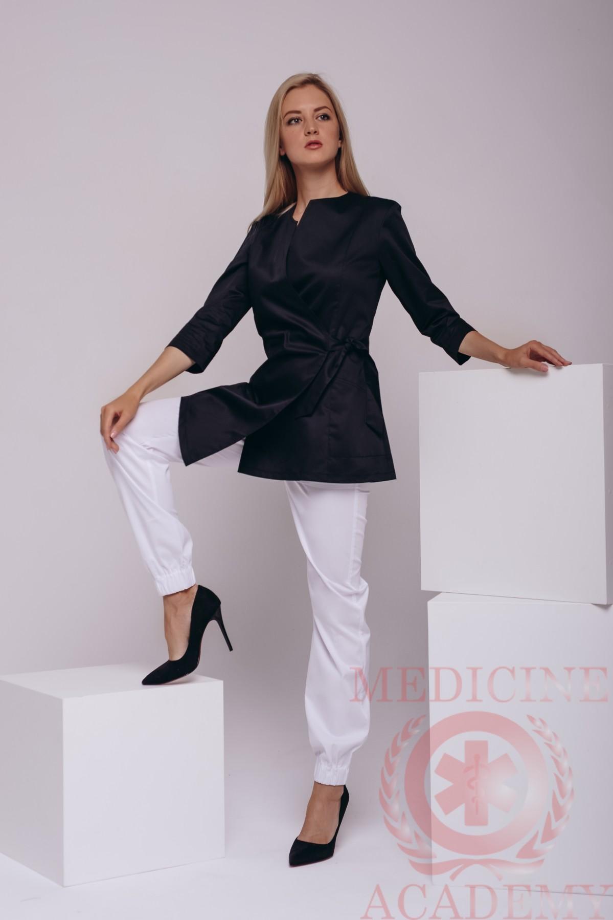 Блуза с запахом черная асимметрия