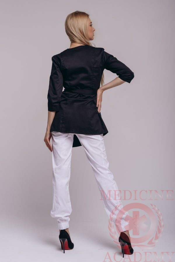 Блуза с запахом черная асимметрия 77ma.ru