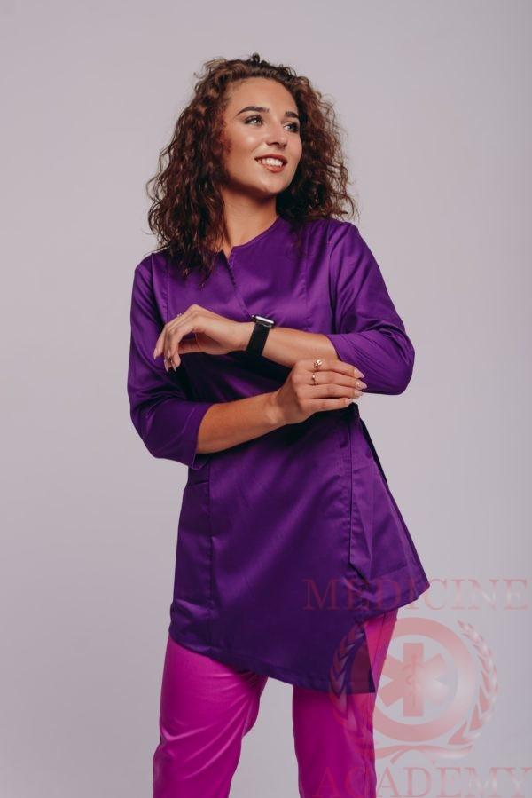 Блуза с запахом пф114А-лиловая 77ma.ru