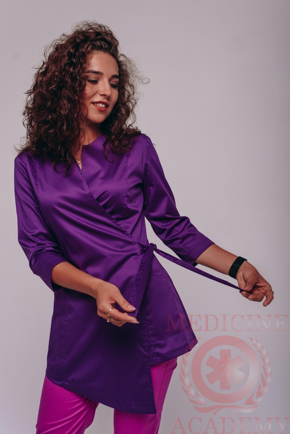 Блуза с запахом пф114А-лиловая