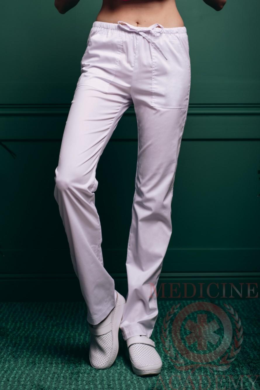 Медицинские брюки с кулиской белые