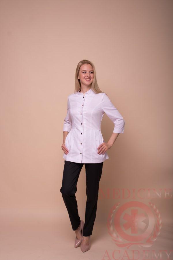 Жакет со складками и воротником-стойкой белый