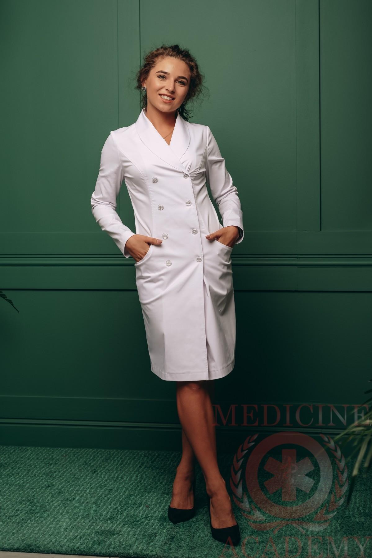 Медицинский халат двубортный