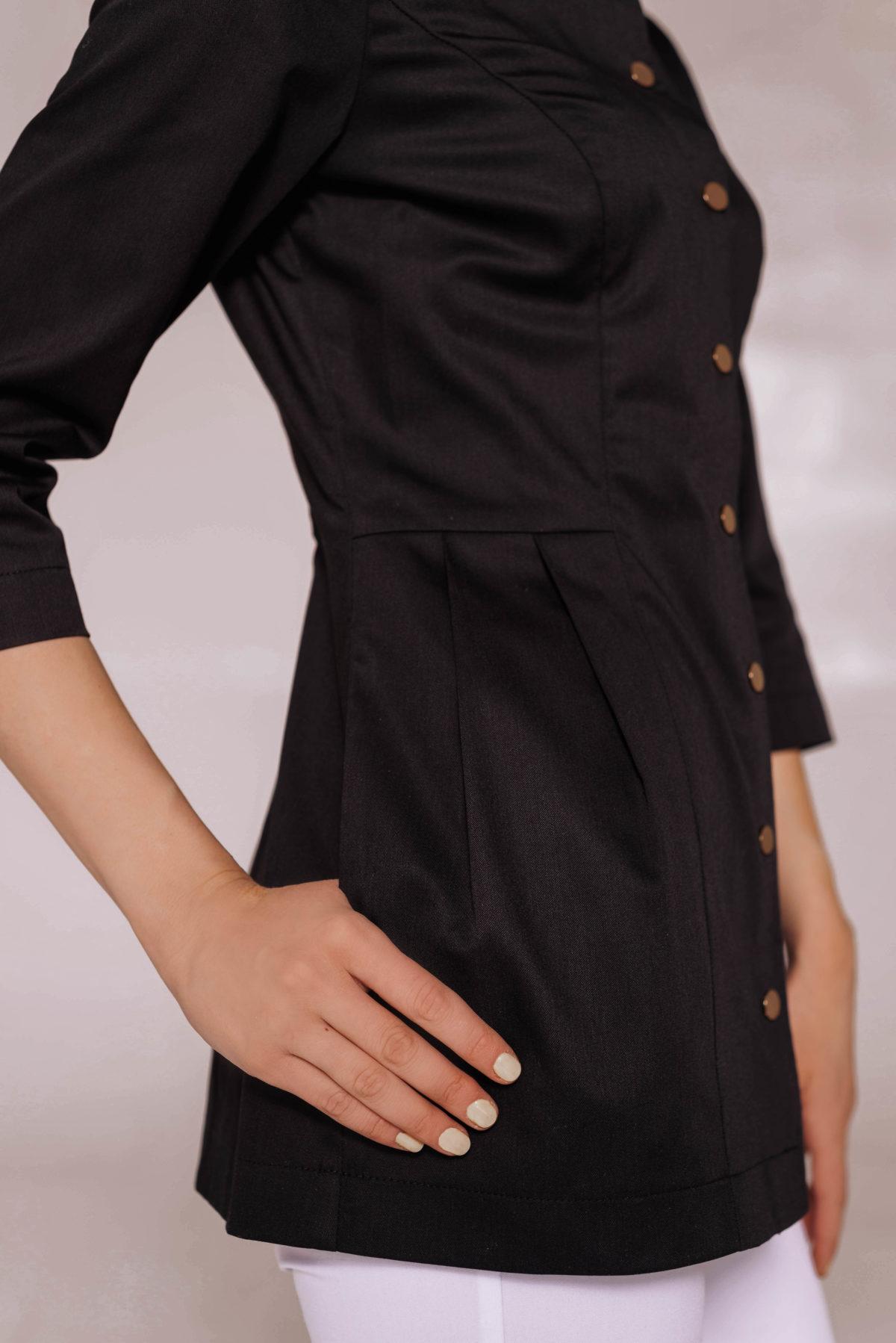 Жакет со складками и воротником-стойкой черный