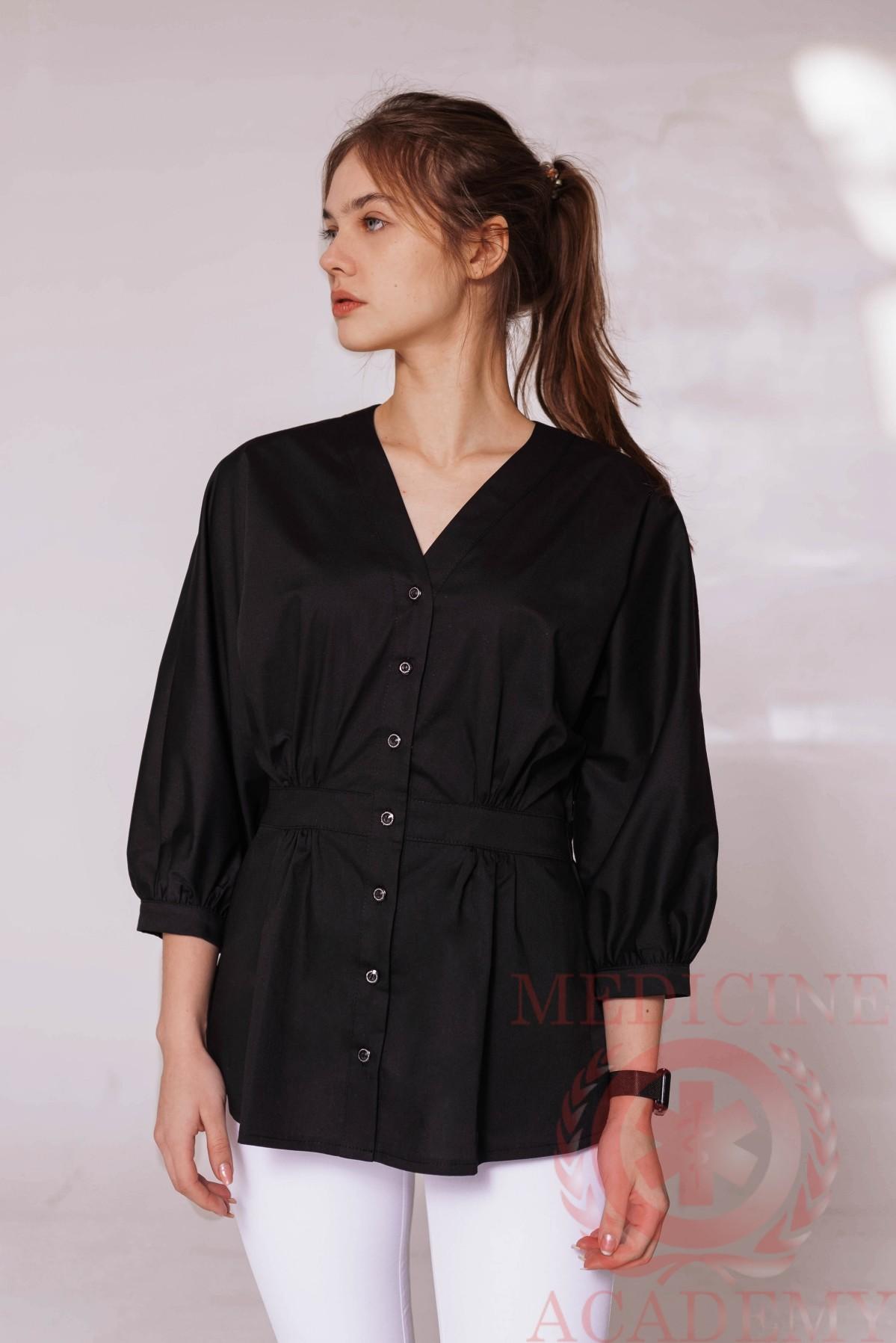 Блуза со сборками на талии черная 77ma.ru