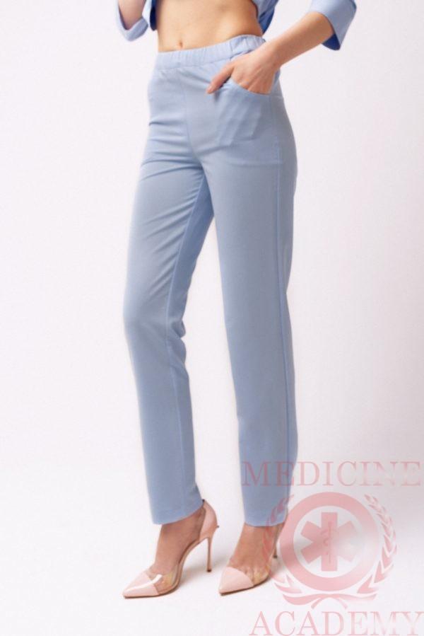 Медицинские брюки зауженные голубые