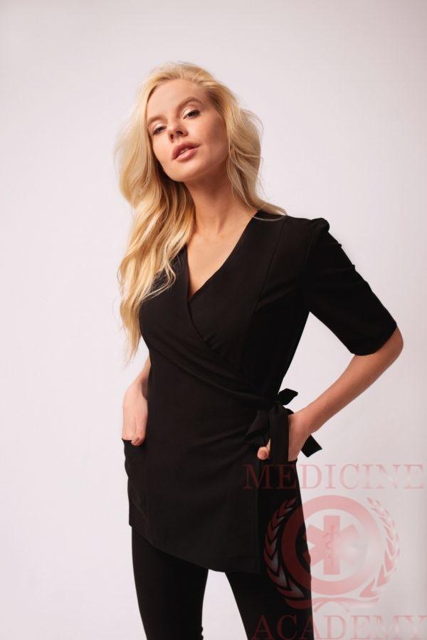 Блуза с запАхом черная 77ma.ru