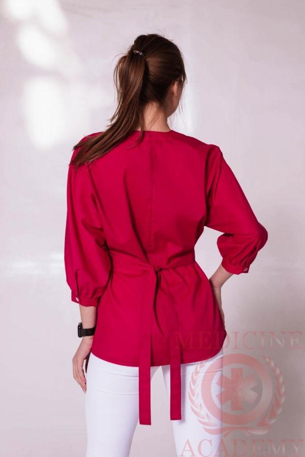 Блуза со сборками на талии маджента