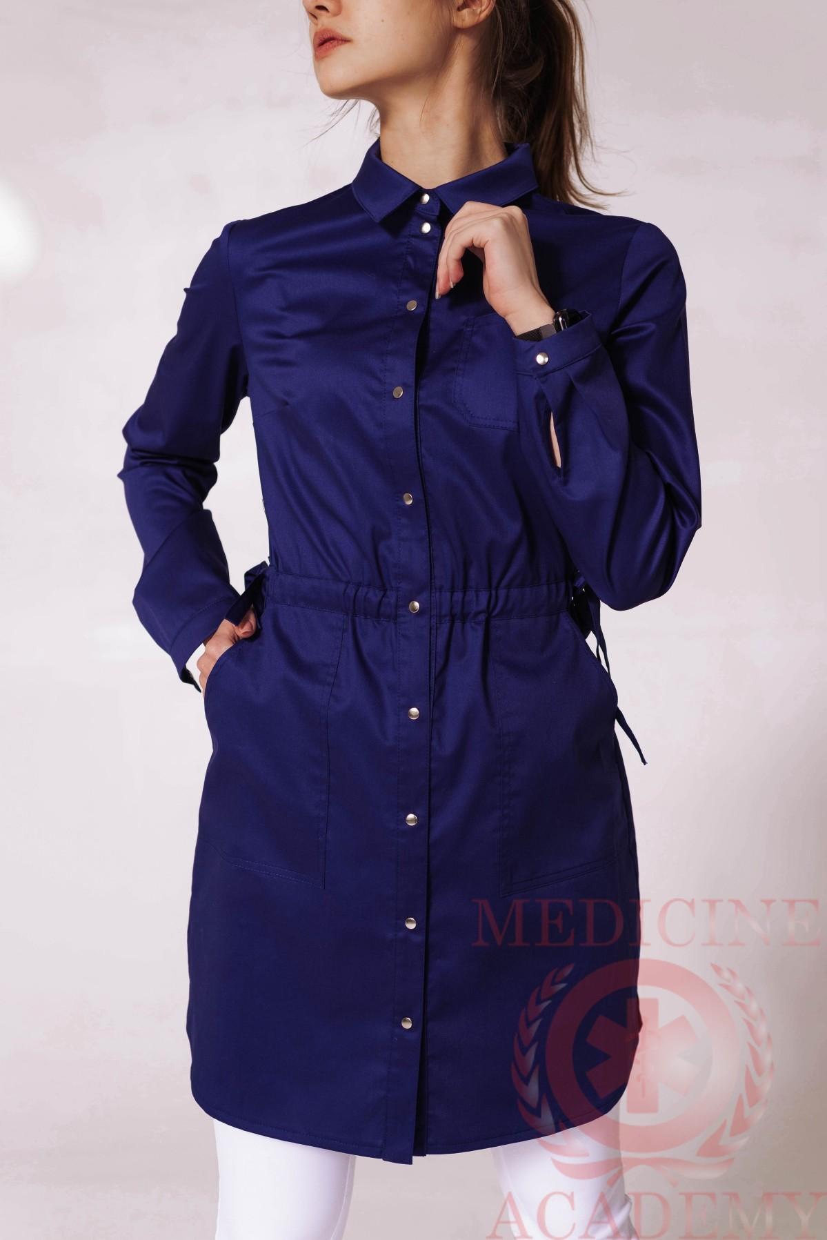 Рубашка на кулиске темно-синия