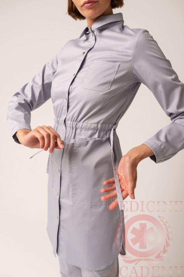 Рубашка на кулиске жемчужно-серая