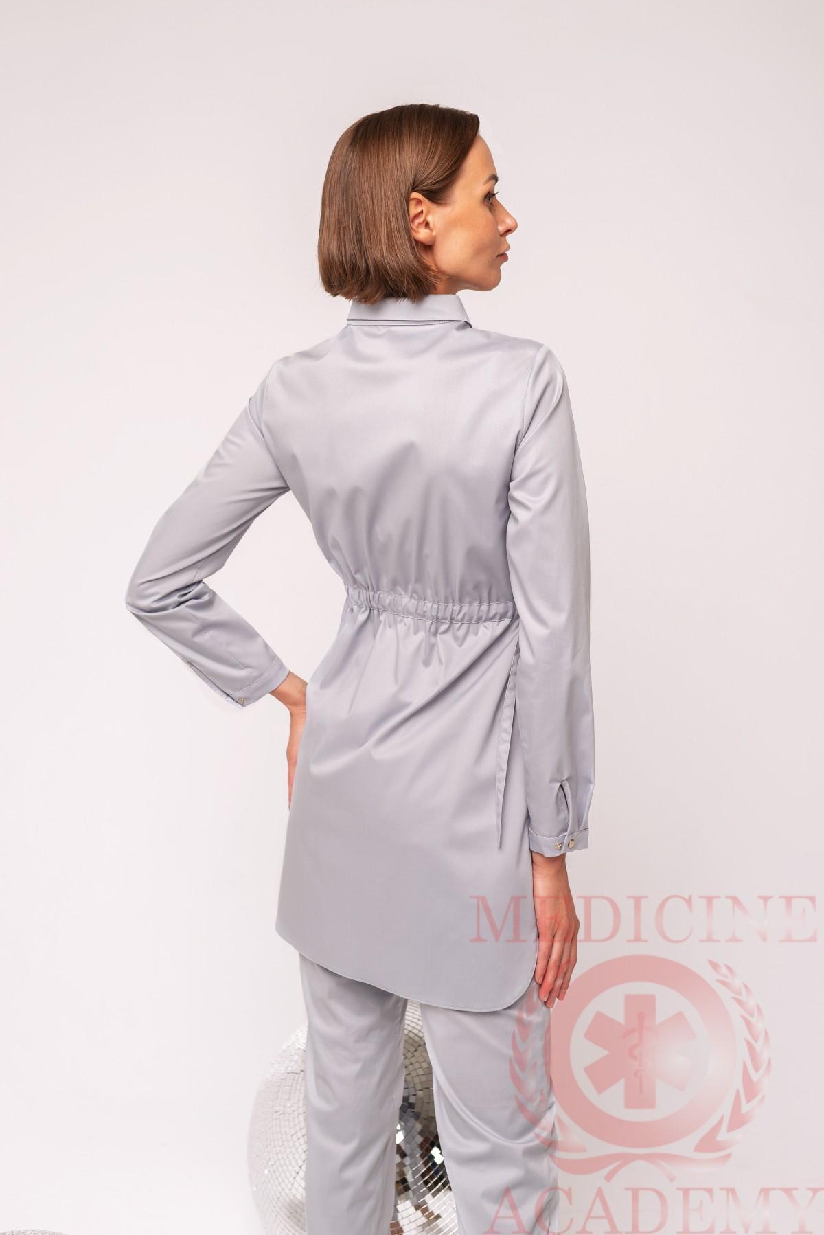 Рубашка на кулиске жемчужно-серая 77ma.ru